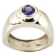 14 Karat White Gold & Iolite Ring.