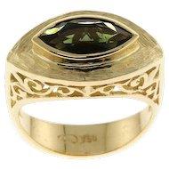 New 18k Yellow Gold & Green Tourmaline Ring.