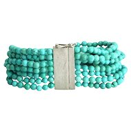Sterling Silver and Turquoise Beads Bracelet