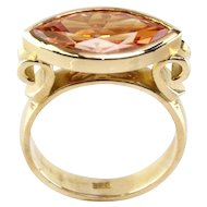14 Karat Yellow Gold and Champagne CZ Ring