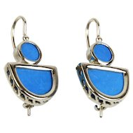 Pair of 14 Karat White Gold & Turquoise Earrings.