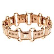 9K Rose Gold and Moonstone Link Bracelet.