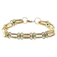 14 Karat Yellow Gold and Turquoise Bracelet.