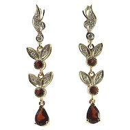 14 Karat White & Yellow Gold Diamond and Garnet Earrings.