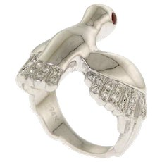 14 Karat White Gold Diamond and Ruby Flying Peace Dove Ring.