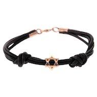 14 Karat Rose Gold Star of David Leather Bracelet.