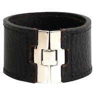 Sterling Silver & Black Leather Bracelet.