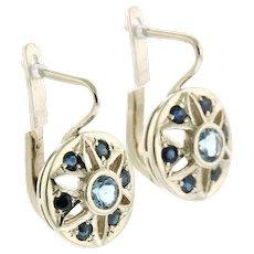 Pair of 14 Karat White Gold Aquamarine and Sapphire Earrings.