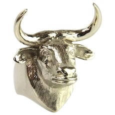 14 Karat White Gold Fighting Bull Men Ring
