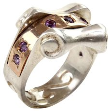 New 9 Karat Rose Gold & Sterling Silver Amethyst Ring.
