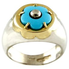14 Karat Yellow Gold and Sterling Silver Turquoise Flower Ring