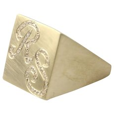 14 Karat Yellow Gold Diamond Monogram Initial Personalized Customized Ring.