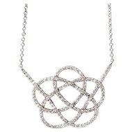 New 14 Karat White Gold 0.75ct Diamond Necklace.