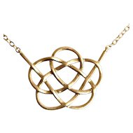 New 14 Karat Yellow Gold Round Knot Pendant On Chain Necklace