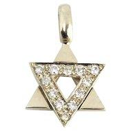 New 14 Karat White Gold and Diamond Star of David Pendant, Judaica.