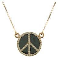 14 Karat Rose Gold Diamond and Hematite Peace Symbol Necklace.