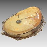 "Victorian 14K Gold Shell Cameo Brooch/Pendant Diamond Necklace 2.5"""