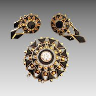 Victorian 12k Gold 1.30 Euro Cut Diamond & Onyx Mourning Brooch Pendant w/Earrings
