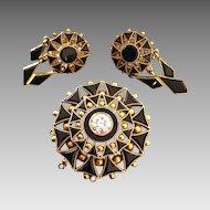 Victorian 12k Gold 1.30 Euro Cut Diamond & Onyx Mourning Brooch Pendant w/Earrings