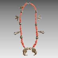 Vintage Branch Coral Sterling Necklace