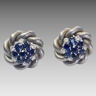 Vintage Sapphire & Diamond Earrings in Brushed White 18k Gold