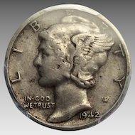 1942/1-D Mercury Dime 10C - PCGS XF40 (EF40) - Rare Overdate Coin