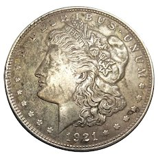 1921 Morgan Silver Dollar Philadelphia Mint Graded AU