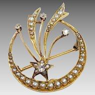 Antique Victorian Diamond & Pearl Crescent Moon Pin/Pendant