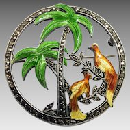 Art Deco Bird Palm Tree Brooch Sterling Silver Enamel Marcasite Antique Pin By Uncas Circa 1940s