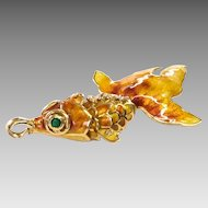 Vintage Enamel and 14k Fish Pendant with Emerald & Diamond