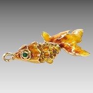 Vintage Enamel and 14k Fish Pendant with Emerald & Diamond