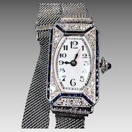 Art Deco Platinum Diamond & Sapphire 1940's Ladies Watch in Excellent Condition