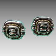 Rare Tiffany & Co Sterling 18k Rope Square Earrings