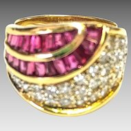 18k Yellow Gold Burma Red Ruby and White VS Diamond Ring Size 6 3/4