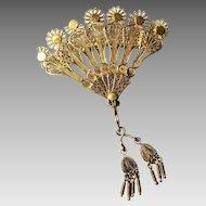 Vintage 14k Gold Fan Brooch / Pin with Dangling Tassels