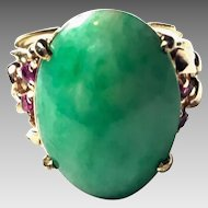 Vintage 14k yellow gold Jade & Ruby Ring