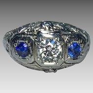 0.50 Carat G SI2 Diamond & Sapphire 18k Ring