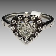 18k Diamond Heart Ring