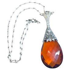 1920's Art Deco Platinum Diamond and Citrine Necklace