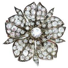 19th Century Floral Diamond Brooch Pin 8 Cttw