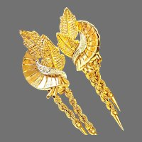 Retro 18k Diamond Floral Dangle Earrings