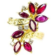 14k Garnet Diamond Flower Statement Ring