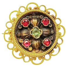Late 1800's Victorian Antique 18k Yellow Gold Emerald & Ruby Brooch Pin