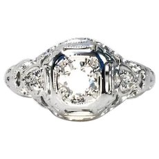 Vintage Art Deco 14k White Gold Filigree Diamond Ring