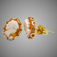 Coral Cameo 14k Stud Earrings