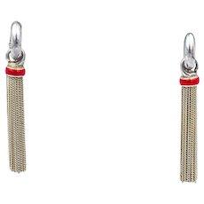 Vintage Authentic Tiffany & Co. Sterling Silver Red Enamel Multi Strand Dangle Earrings
