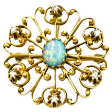 Opal Diamond Pin Pendant 14k Yellow Gold