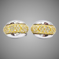 18k Two Tone Gold Pavé Diamond Earrings