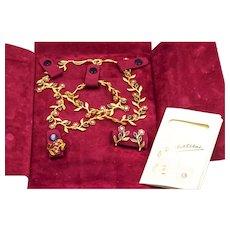 Ruby Emerald Diamond 18KY Gold Floral Necklace Bracelet Ring Earrings Set