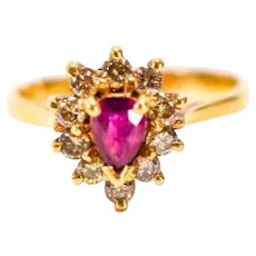 Ruby Diamond Halo Ring In 14k Yellow Gold